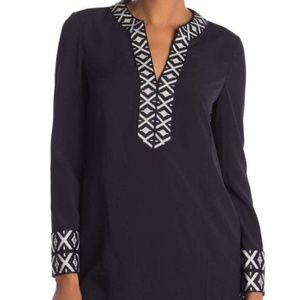 Tory Burch Navy & White Embroidered Tunic Top